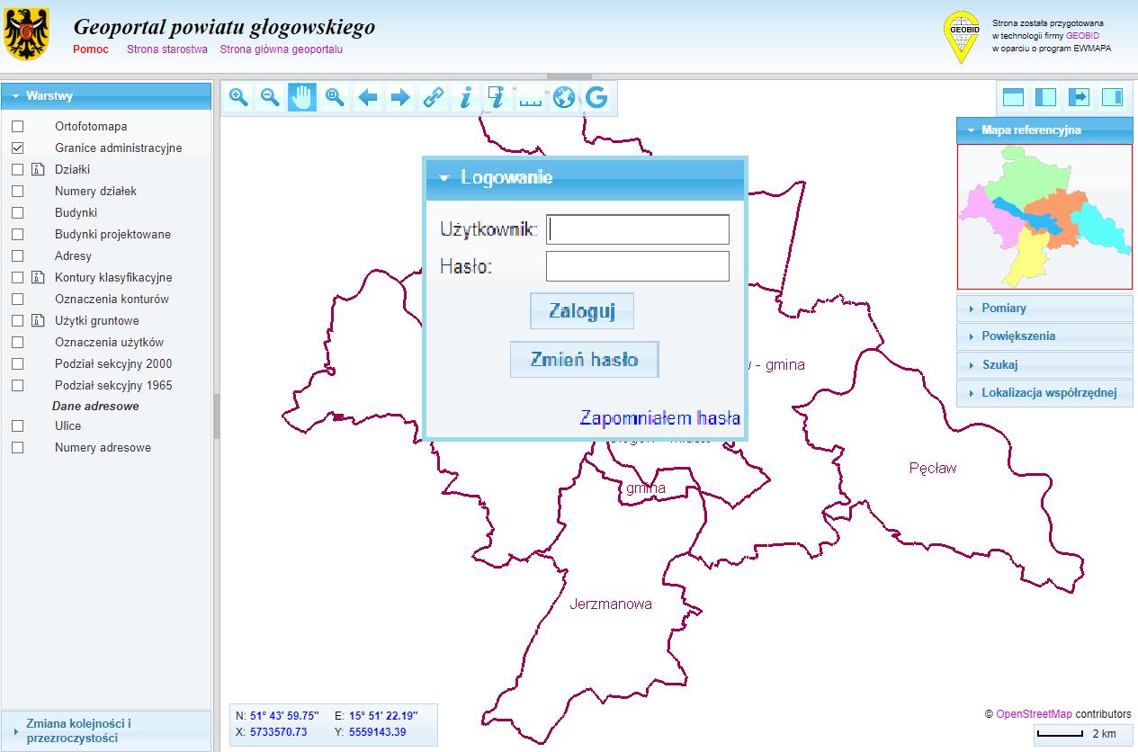 Geoportal dla uprawnionych użytkowników